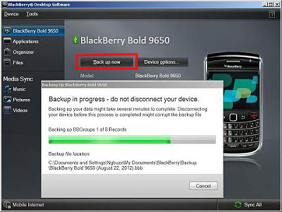 backup your blackberry phone